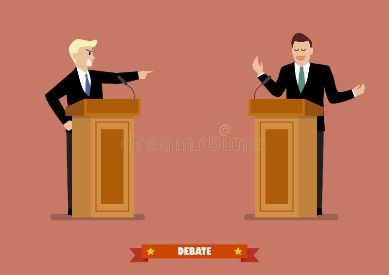 O candidato presidencial fala aos povos da tribuna ilustração do vetor