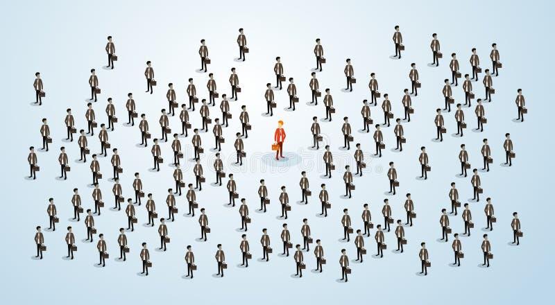 O candidato vermelho de Human Resource Recruitment do homem de negócios, executivos aglomera o conceito 3d do aluguer isométrico ilustração stock
