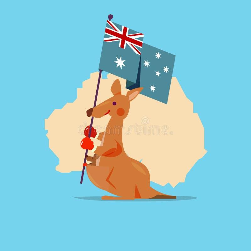 O canguru e o bebê seguram a bandeira de Austrália com o mapa no fundo ilustração stock