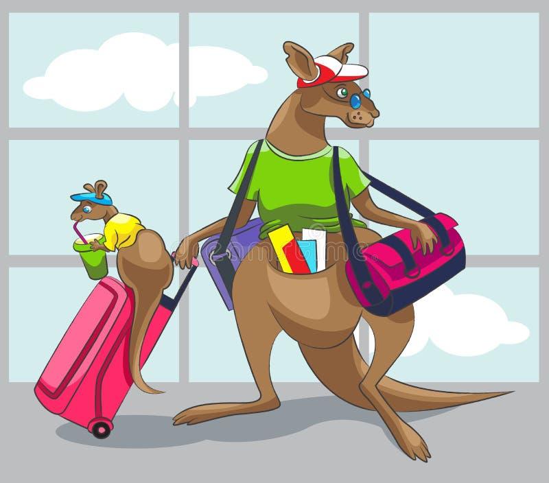 O canguru viaja com uma família ilustração do vetor