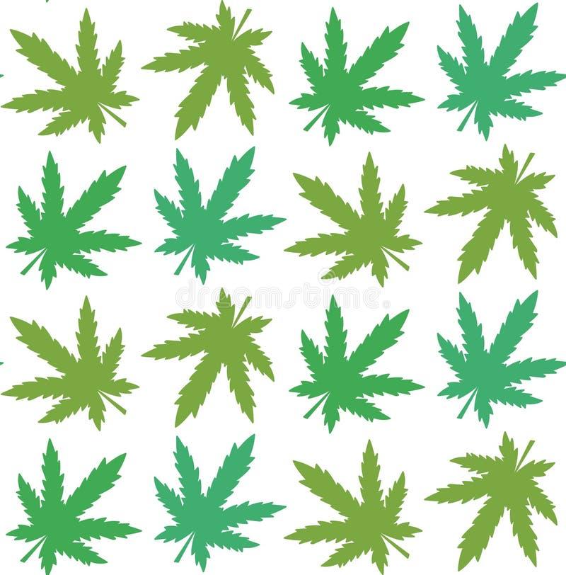 O cannabis folheia teste padrão sem emenda colorido do vetor das silhuetas ilustração do vetor