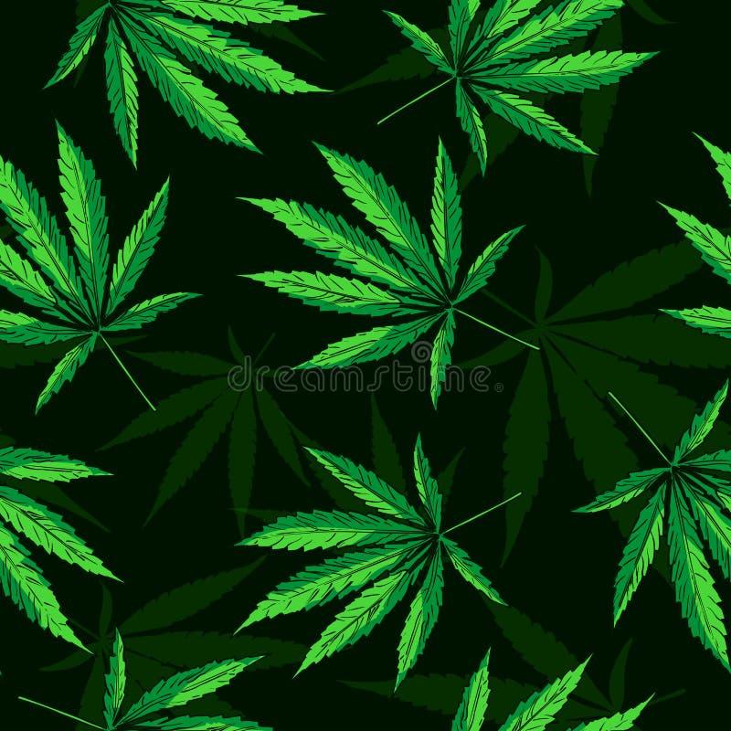 O cannabis folheia teste padrão sem emenda do vetor ilustração stock