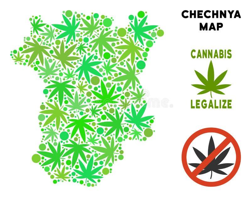 O cannabis livre dos direitos sae do mapa de Chechnya da colagem ilustração do vetor
