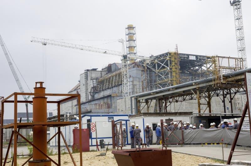 O canteiro de obras do abrigo novo do reator em Chernobyl NU fotos de stock royalty free