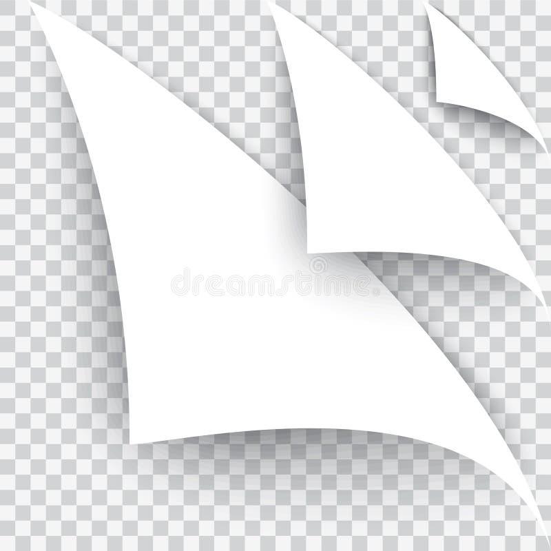 O canto curvado da página A folha branca em um fundo transparente Vetor realístico Um grupo de três tipos ilustração do vetor
