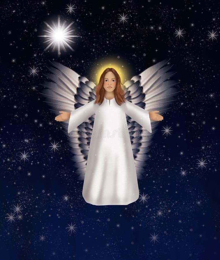 O canto do anjo do Natal da alegria esse Cristo é nascido ilustração do vetor