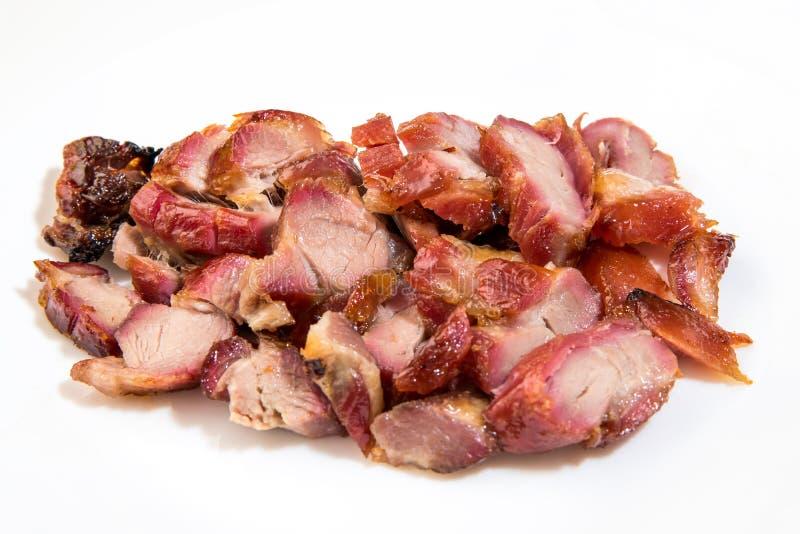 O cantonês assou a carne de porco - siu do carvão animal fotos de stock