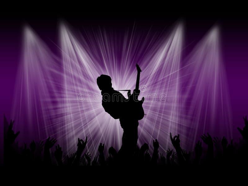 O cantor de rocha na fase com fundo ilumina-se imagens de stock