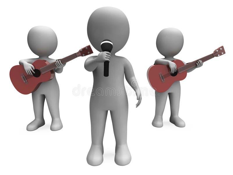 O Cantor And Guitar Players Mostra O Concerto Ou A Execução Da Faixa Foto de Stock