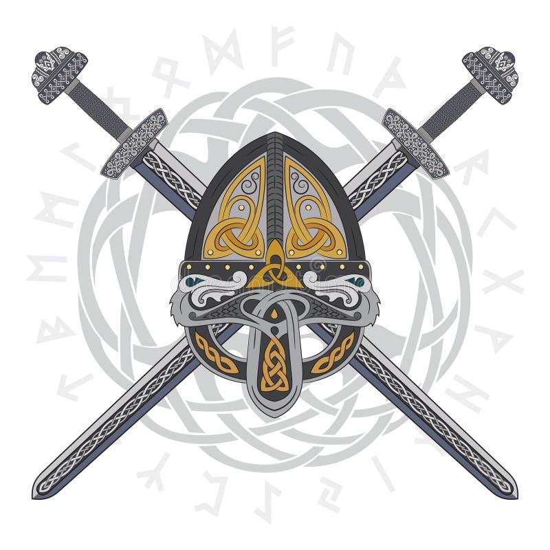 O capacete de Viking com dois cruzou espadas e o teste padrão escandinavo ilustração do vetor