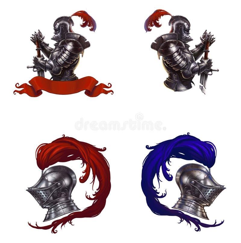 O capacete do cavaleiro com penas vermelhas ilustração do vetor
