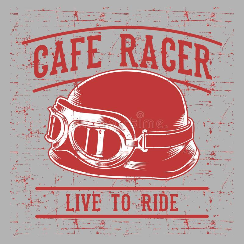 O capacete do motociclista do piloto do café com inscrição vive ao Passeio-passeio para viver Arte da tipografia do vintage para  ilustração do vetor
