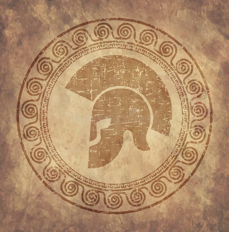 O capacete espartano um ícone no papel velho no grunge do estilo, é emitido no estilo grego antigo ilustração do vetor