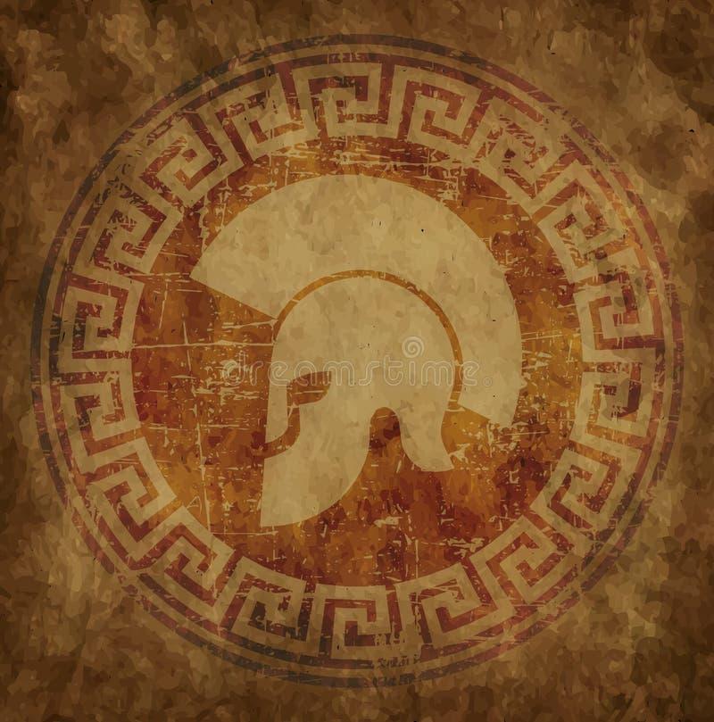 O capacete espartano um ícone no papel velho no grunge do estilo, é i emitido ilustração do vetor