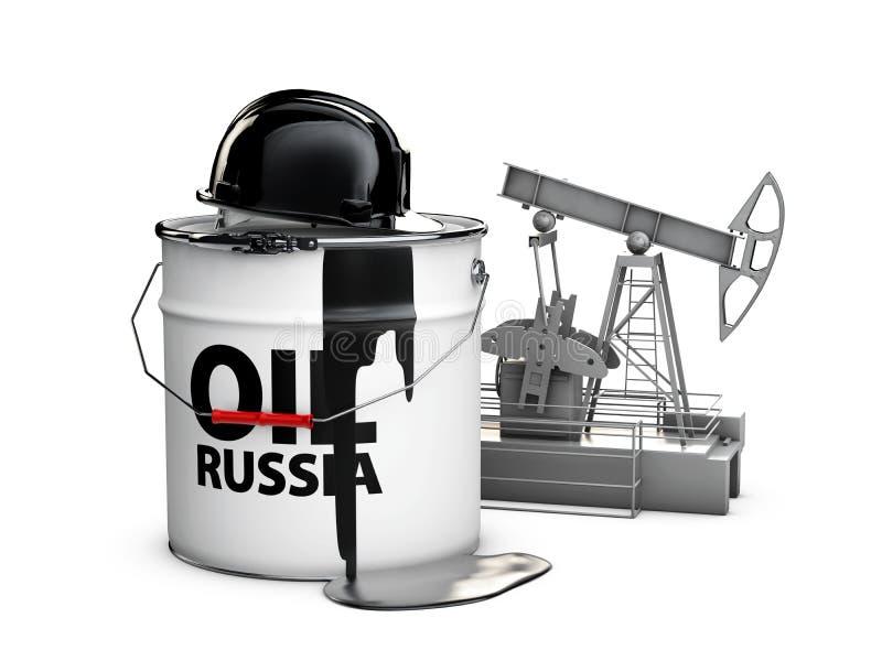 O capacete no tambor do óleo do russo com bomba de óleo, ilustração 3d isolou o branco ilustração do vetor