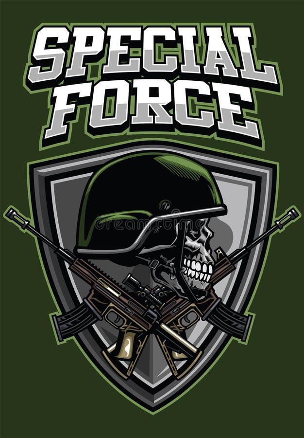 O capacete vestindo do crânio militar e os rifles de cruzamento projetam ilustração do vetor
