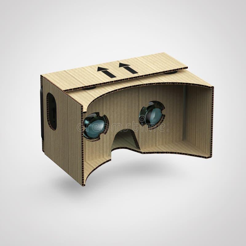 O capacete virtual do equipamento VR da cabeça do cartão do olho-desgaste dos óculos de proteção, dispositivo aumentado da realid imagens de stock