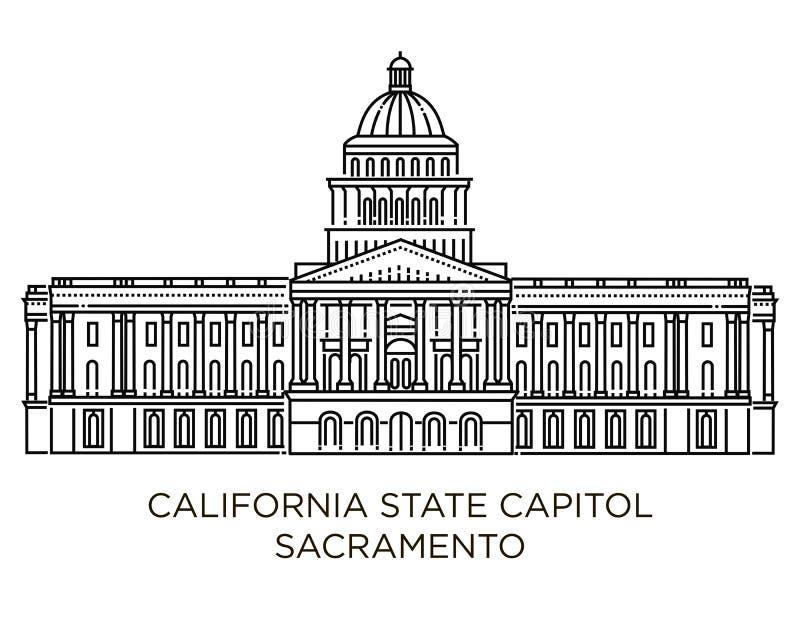 O Capitólio do estado de Califórnia é home ao governo de Califórnia, Estados Unidos da América ilustração royalty free