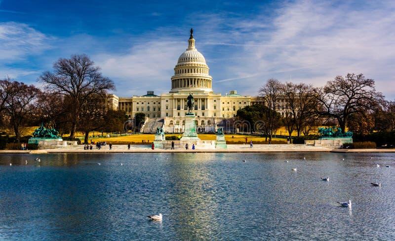 O Capitólio do Estados Unidos e a associação refletindo em Washington, C.C. imagem de stock