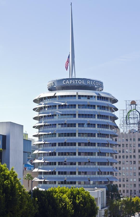 O Capitólio grava o edifício no coração de Hollywood imagens de stock royalty free
