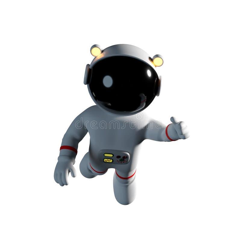 O caráter bonito do astronauta dos desenhos animados no terno de espaço branco é sem peso na ilustração do espaço 3d da gravidade ilustração stock