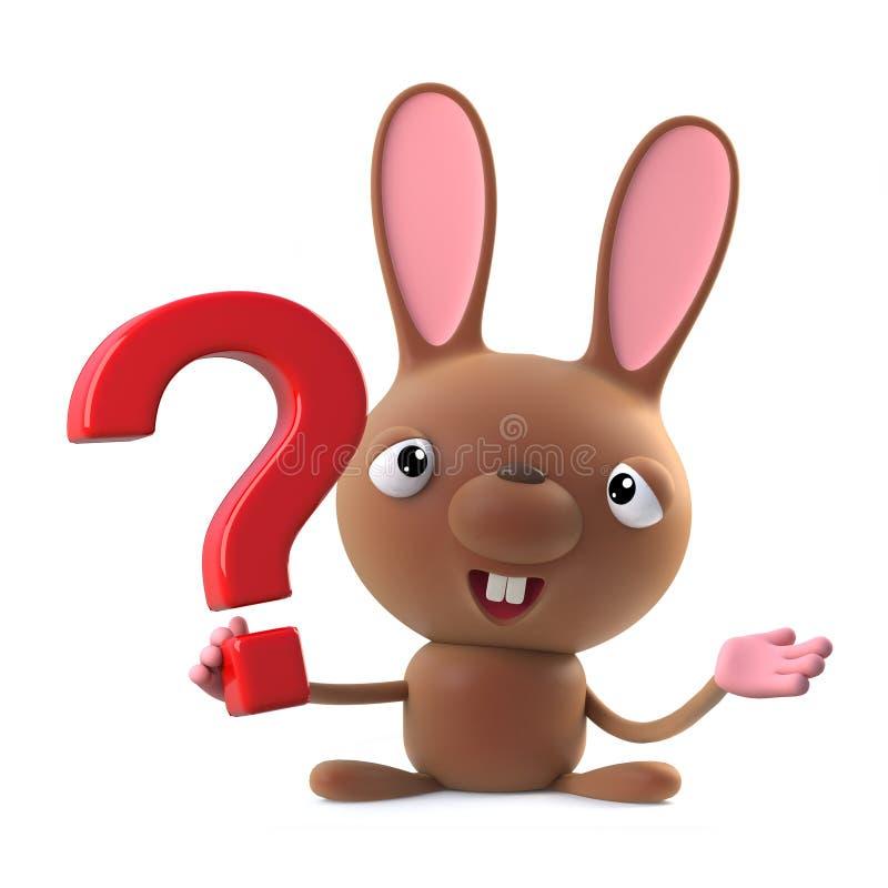 o caráter bonito do coelho de coelhinho da Páscoa dos desenhos animados 3d tem uma pergunta a pedir ilustração stock