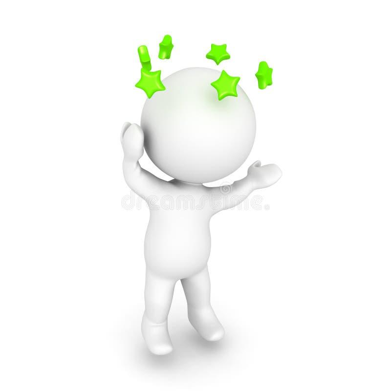 o caráter 3D é tonto e está considerando estrelas verdes girar ao redor ilustração stock