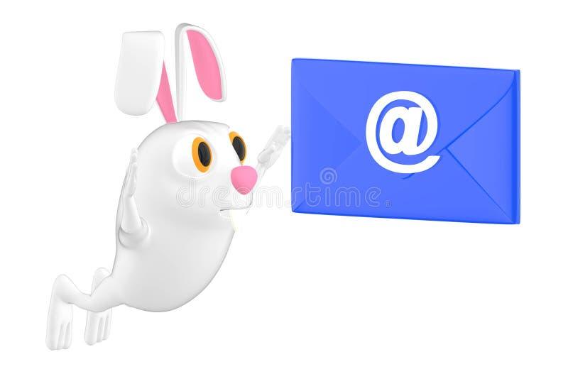 o caráter 3d, o coelho e o email assinam o envelope ilustração royalty free