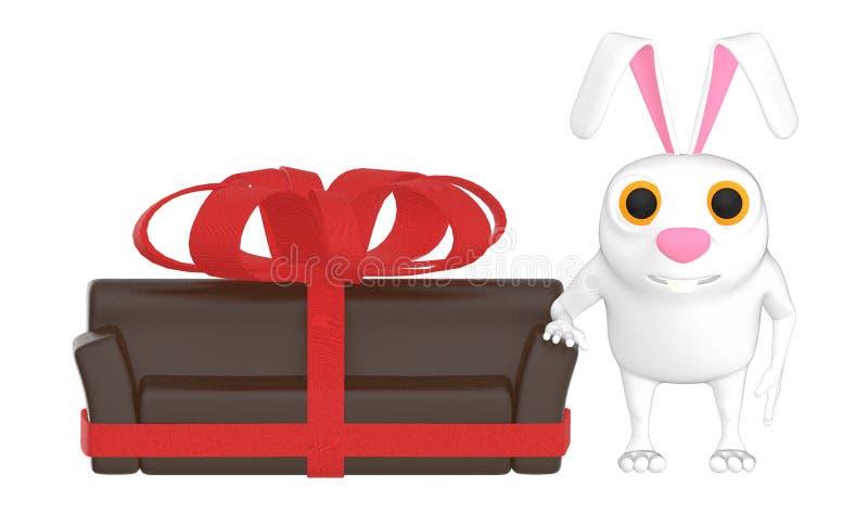 o caráter 3d, o coelho e uma fita envolveram o sofá ilustração do vetor