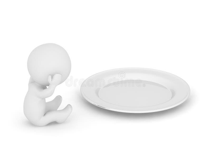 o caráter 3D está com fome ilustração do vetor
