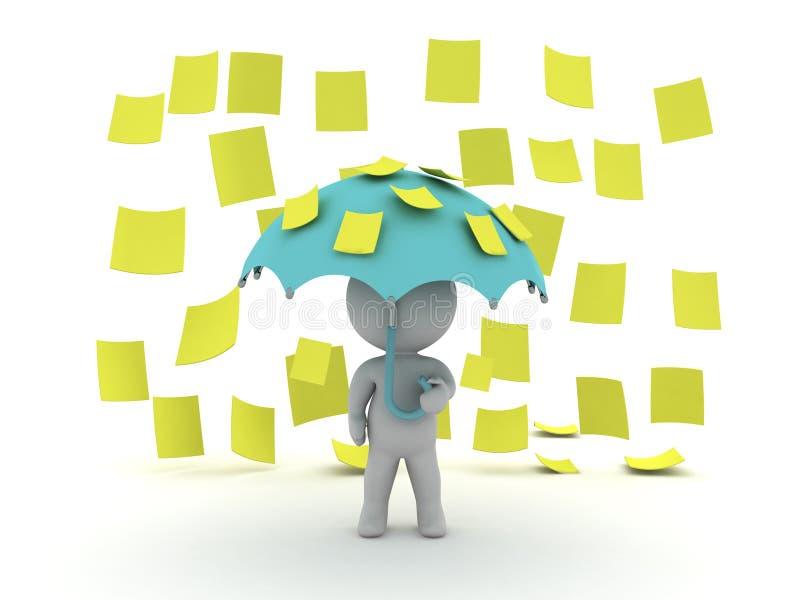 o caráter 3D guardar um guarda-chuva quando notas pegajosas do post-it amarelo ilustração royalty free