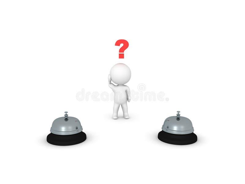 o caráter 3D tem que escolher entre a empurrão de dois botões ilustração royalty free