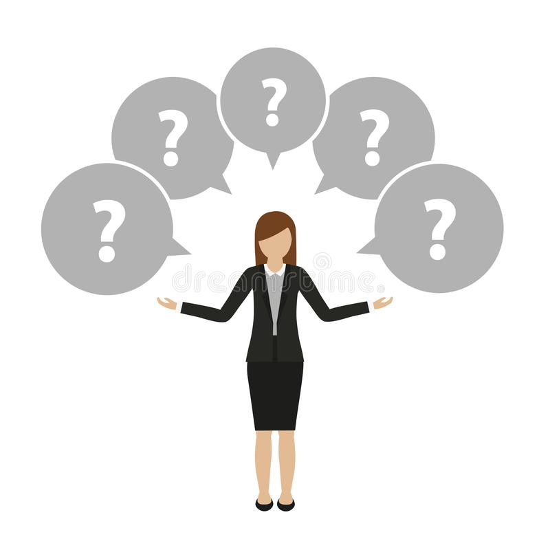 O caráter da mulher de negócio tem muitas perguntas ilustração royalty free