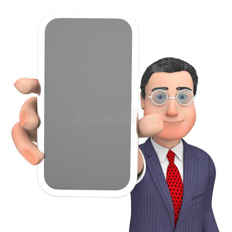 O caráter de Smartphone mostra a rendição do world wide web e do negócio 3d ilustração royalty free