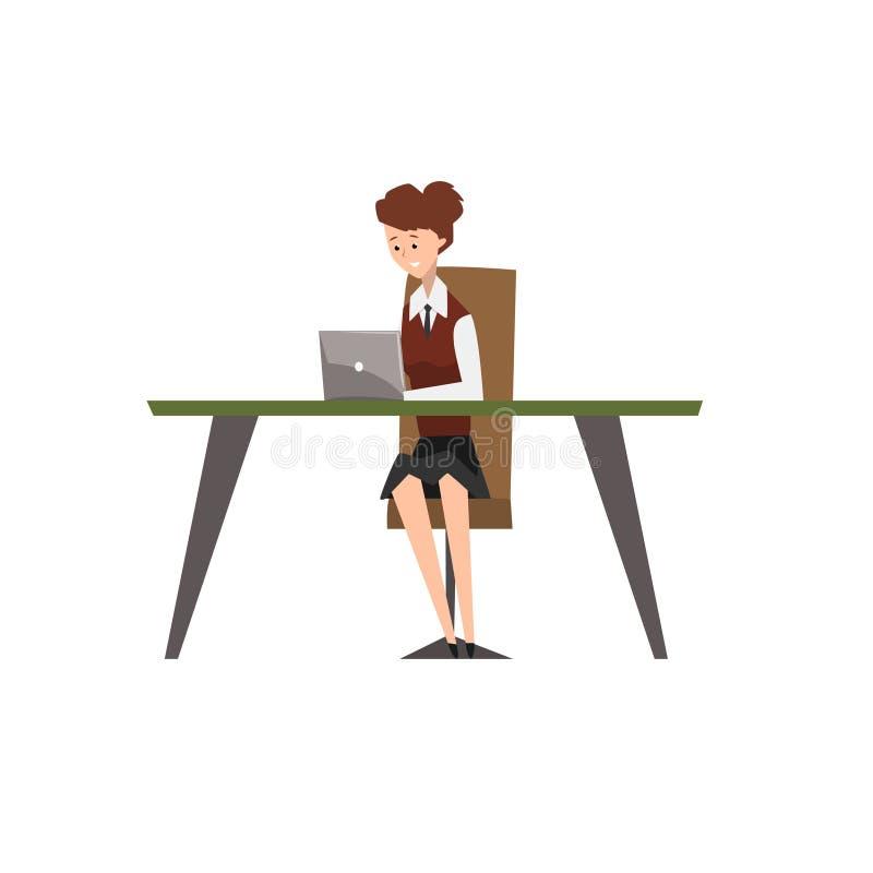 O caráter de sorriso da mulher de negócios que trabalha em seu computador no escritório vector a ilustração em um fundo branco ilustração do vetor