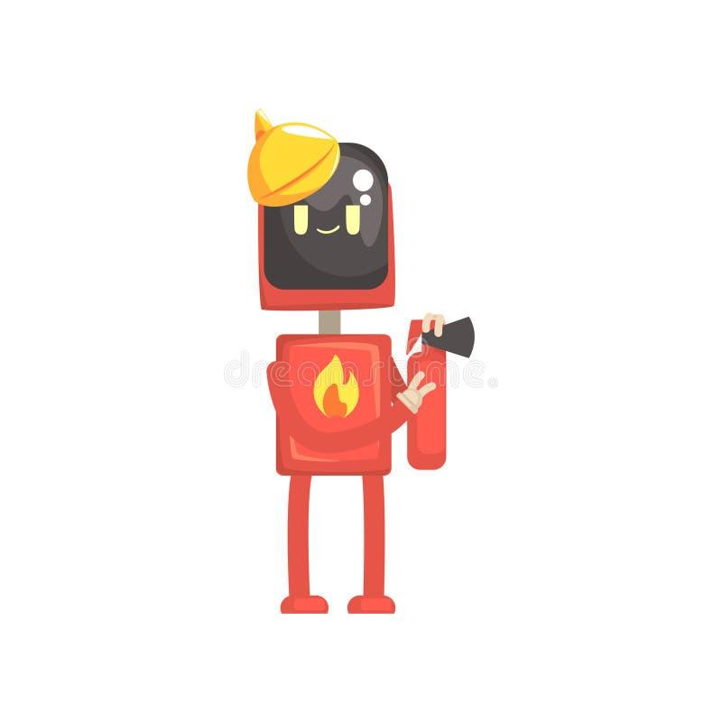 O caráter do bombeiro do robô, androide na terra arrendada uniforme vermelha extingue em sua ilustração do vetor dos desenhos ani ilustração stock