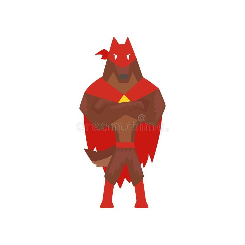 O caráter do cão do super-herói que está com mãos dobradas, cão super vestiu-se na ilustração vermelha do vetor dos desenhos anim ilustração royalty free
