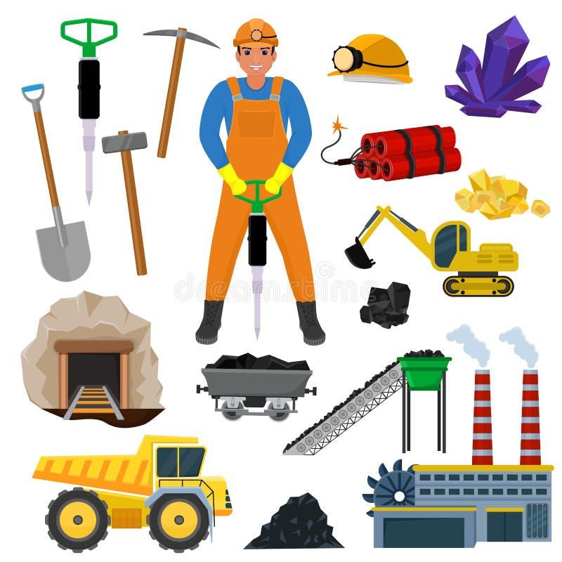 O caráter do construtor do trabalhador de mina do vetor do mineiro em minerais de mineração de carvão do capacete nas rochas esca ilustração royalty free
