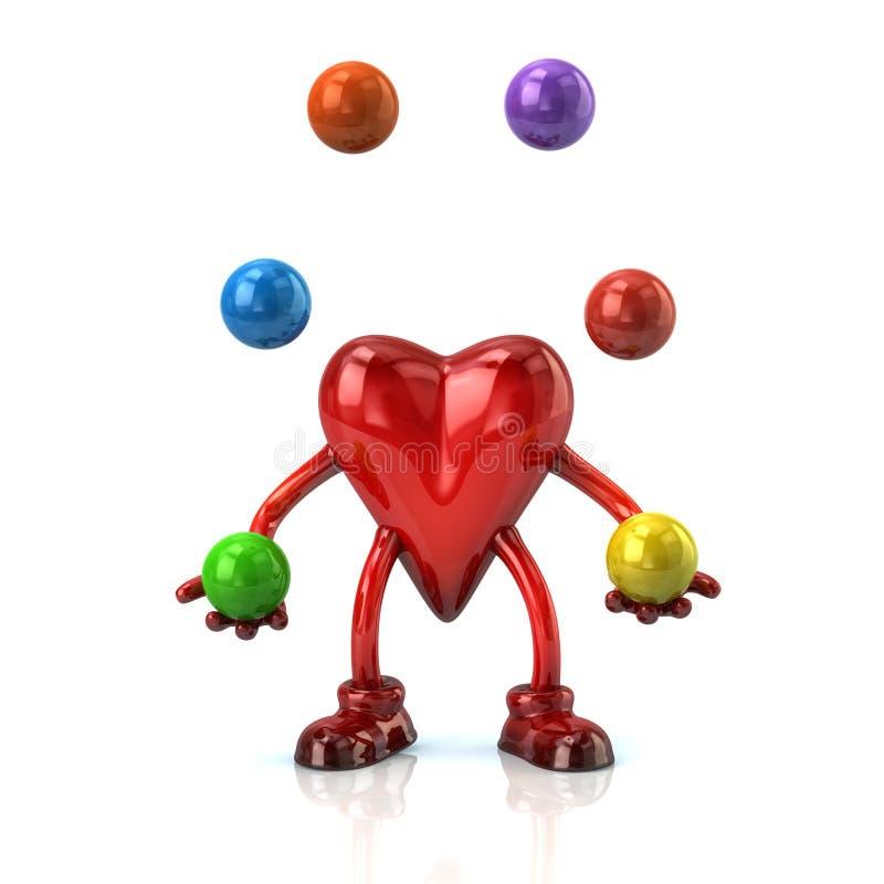 O caráter do coração manipula com bolas ilustração do vetor