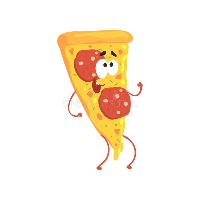 O caráter do fast food dos desenhos animados da pizza, elemento para o menu do café, restaurante, caçoa o alimento, ilustração do ilustração do vetor