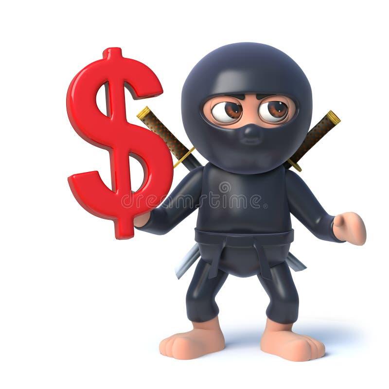 o caráter engraçado do assassino de Ninja dos desenhos animados 3d tem o símbolo de moeda do dólar americano ilustração stock