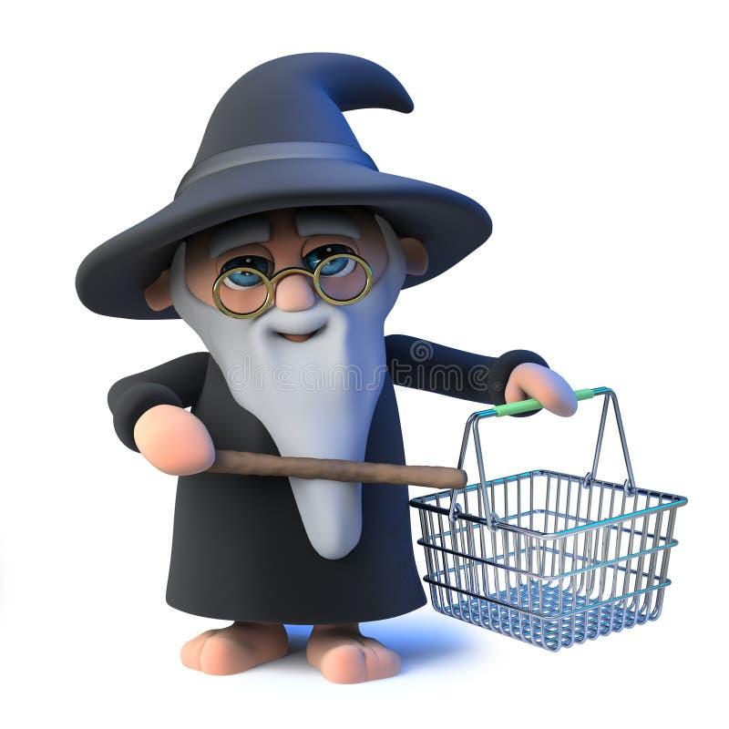 o caráter engraçado do mágico do feiticeiro dos desenhos animados 3d acena sua varinha em um cesto de compras ilustração do vetor