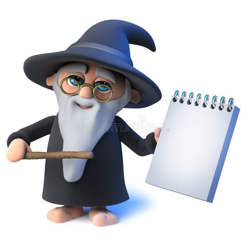 o caráter engraçado do mágico do feiticeiro dos desenhos animados 3d aponta sua varinha em um bloco de notas ilustração do vetor