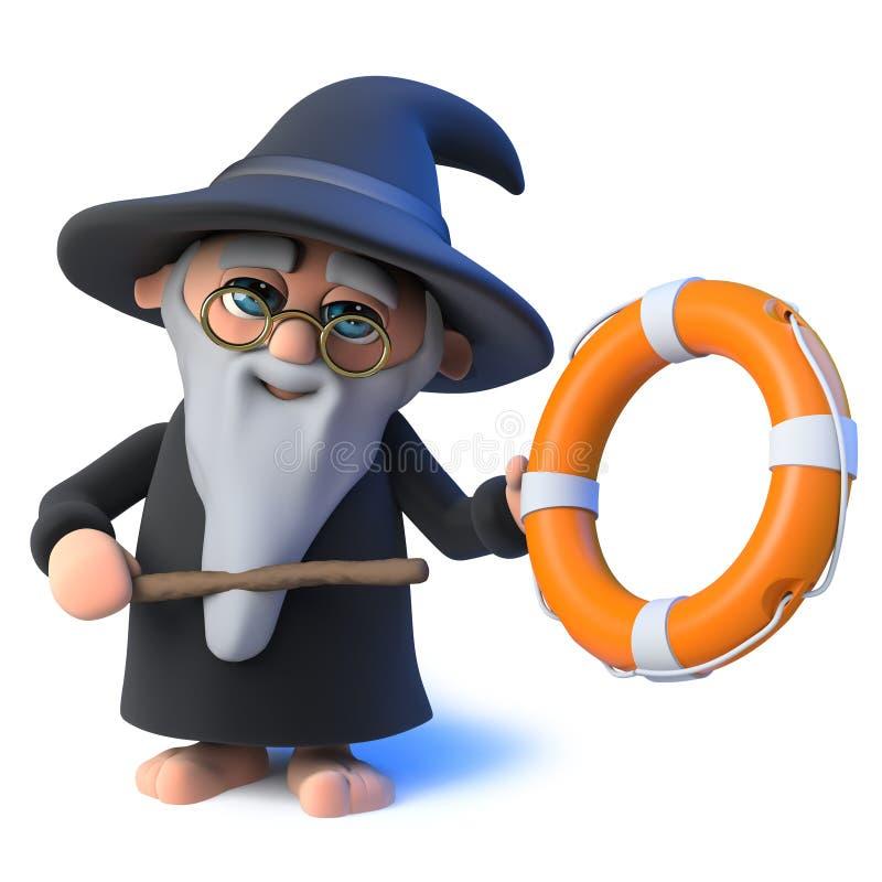 o caráter engraçado do mágico do feiticeiro dos desenhos animados 3d aponta a um anel de vida com sua varinha mágica ilustração do vetor