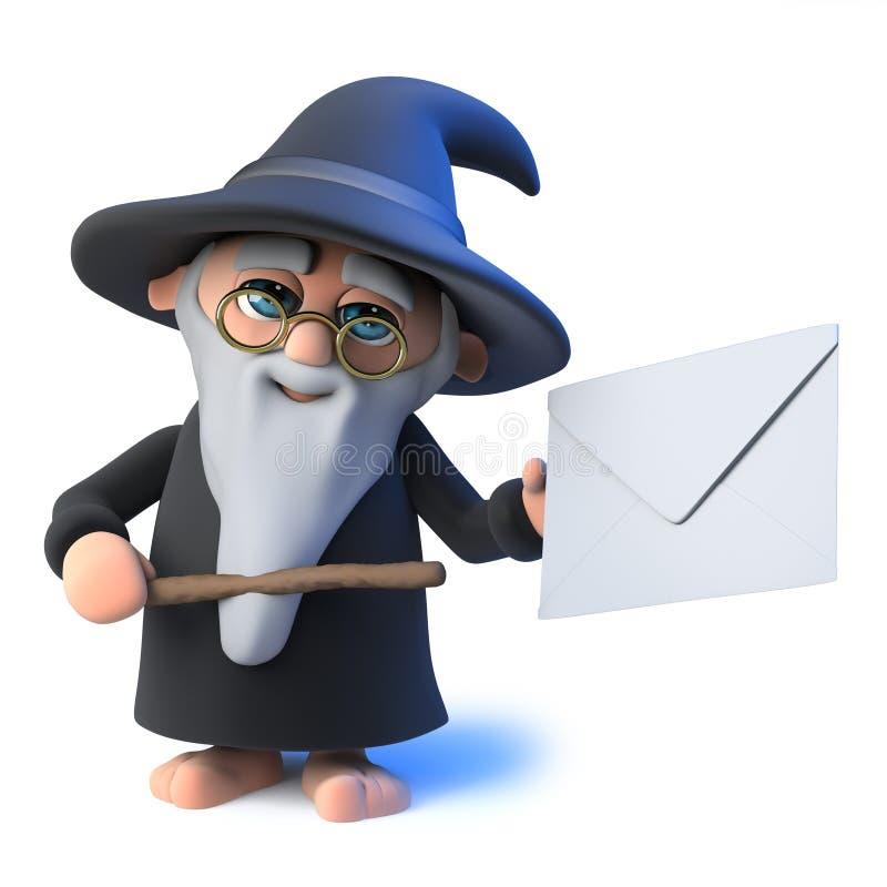 o caráter engraçado do mágico do feiticeiro dos desenhos animados 3d aponta a um envelope com sua varinha mágica ilustração do vetor