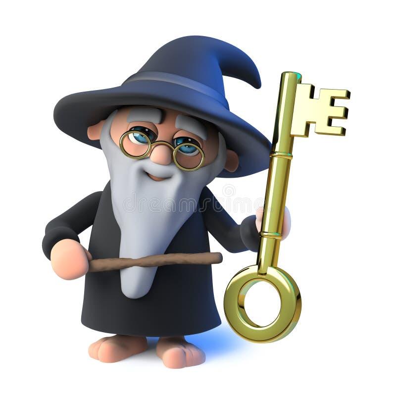 o caráter engraçado do mágico do feiticeiro dos desenhos animados 3d aponta a uma chave do ouro com sua varinha mágica ilustração stock