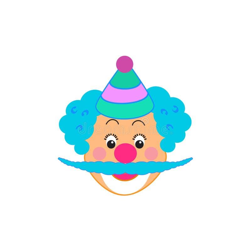 O caráter engraçado do palhaço do partido das crianças do aniversário do carnaval da máscara do palhaço isolou-se ilustração stock