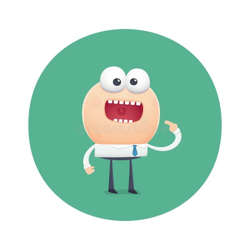 O caráter engraçado pede com fome para comer ilustração do vetor