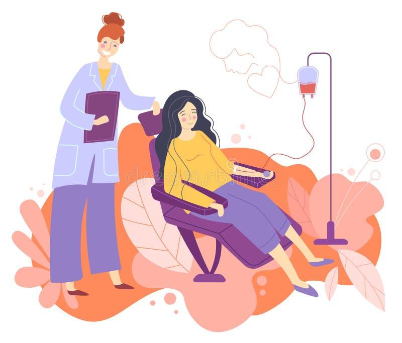 O caráter fêmea voluntário que senta-se no hospital médico preside a doação do sangue Doutor Woman Nurse Take ele em umas garrafa ilustração stock