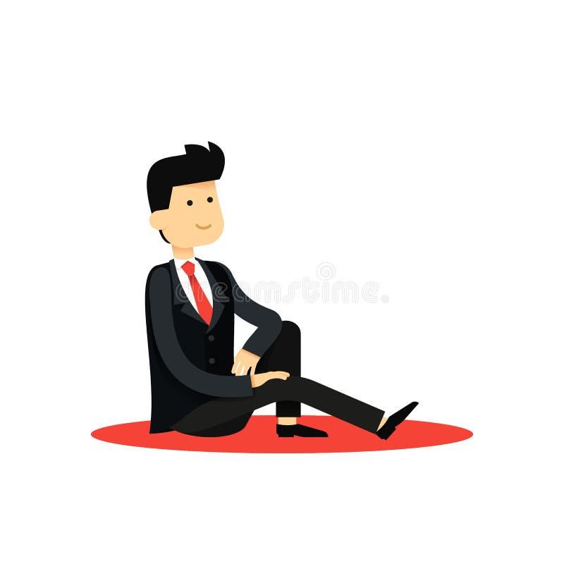 O caráter isolou o homem de negócio, na ilustração preta do vetor do traje ilustração royalty free